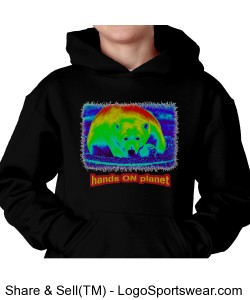 hands ON planet polar bear hoodie Design Zoom